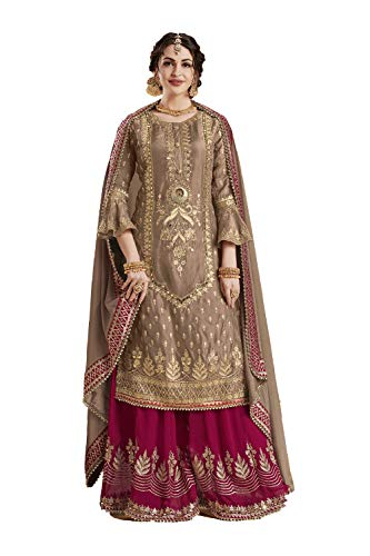 Dessa Collections Indian Women Designer Partywear Ethnic Traditonal Brown Salwar Kameez.