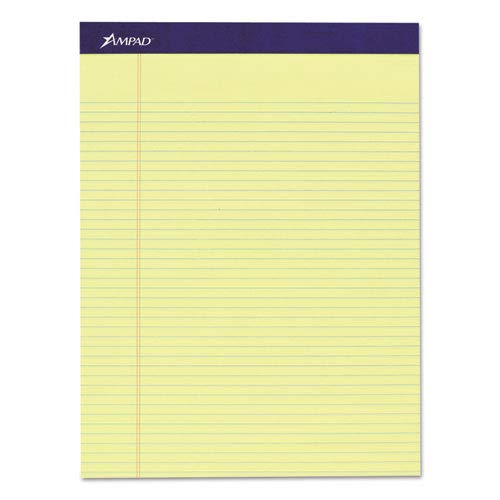 Legal Ruled Pad, 8 1/2 x 11, Canary, 50 Sheets, 4 Pads/Pack (10 Pack)