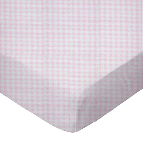 SheetWorld Fitted Portable / Mini Crib Sheet - Pink Gingham