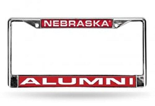 Rico Industries NCAA Nebraska Cornhuskers Laser Cut Inlaid Standard License Plate Frame, Chrome, 6