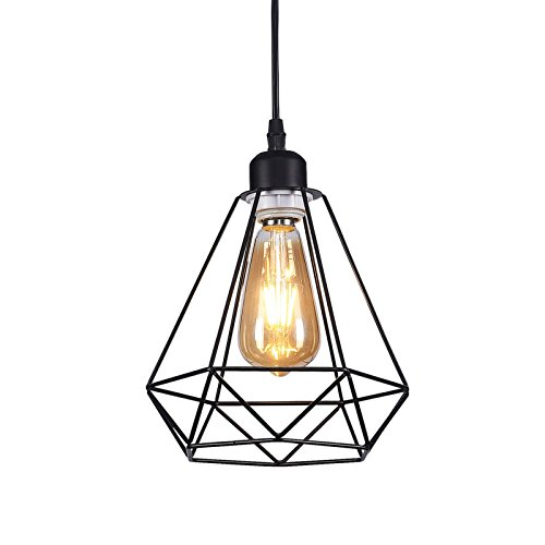 Wideskall 1-Bulb Industrial Diamond Geometric Mini Pendant Lighting Fixture, 8-inch Metal Frame, Matte Black Finish Review