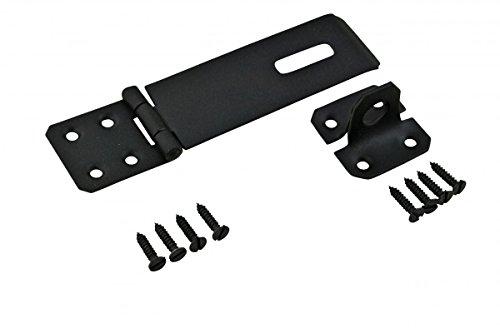 Black Hasp - Black Wrought Iron Hasp 5.875 In Medium Hasp And Staples