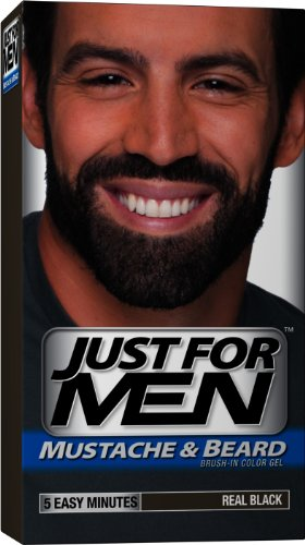 Just for Men Brush-In Gel de couleur pour Moustache et barbe, le Real Noir M-55, 1 kit, emballage peut varier (pack de 3)
