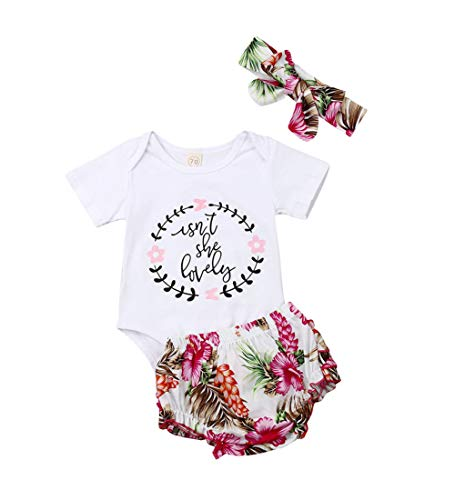 Isnt She Lovely 0-18M Infant Newborn Baby Girl Short Sleeve Cotton Bodysuit Tops Floral Pant Headband (6-12 Months, Style 11)