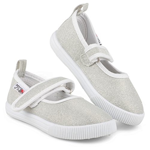 ([SBM102P-SLV-T5] Girls Mary Jane Canvas Sneakers - Silver Canvas Casual Shoes)