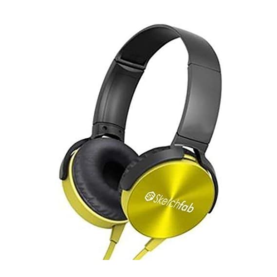 Sketchfab Extra bass Headphones Over The Ear Headset with Deep bass (Yellow)