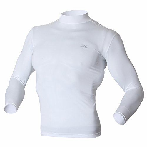 Mock Turtleneck Men Shirts Tops Base Layer Compression Long Sleeve T Shirts LO White - Turtleneck Mock Running