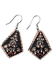 Copper Earrings Black Wire Dangle Hooks Jewelry Mediterranean Style by Bora