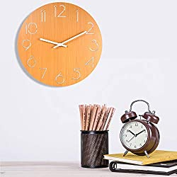 Blusea Wall Clock, Style Wooden Clock, Battery Operated Decorative Round Wall Clocks with Hollow Carving Numbers for Living Room Bedroom Office