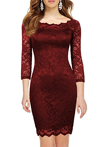MUSHARE Elegant 3/4 Sleeve Full Flroal Lace Short Cocktail Dress (Burgundy, Medium) (Dress Lace Stretch)