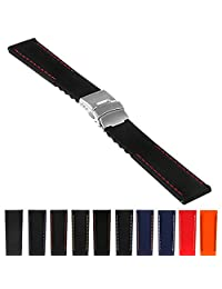 StrapsCo Rubber Watch Band with Stitching & Deployant Clasp - Quick Release Strap - 18mm 20mm 22mm 24mm