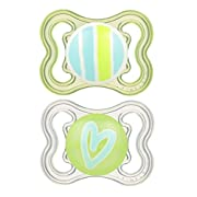 MAM Mini Air Orthodontic BPA-Free Soothing Pacifier For Sensitive Skin, Unisex Designs for Girls or Boys, 0-6 Months, 2-Count in Sterilizing Case