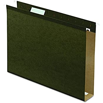 "Pendaflex Extra Capacity Reinforced Hanging File Folders, 2"", Letter Size, Standard green, 1/5 Cut, 25/BX  (4152x2)"