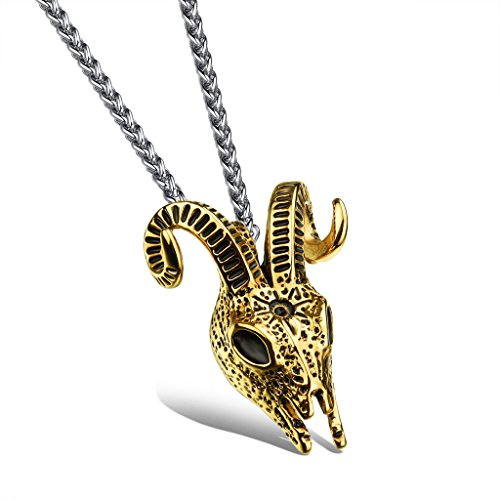 (JSEA G-Mens Stainless Steel Necklace Rams Head Argali Sheep Skull Pendant)