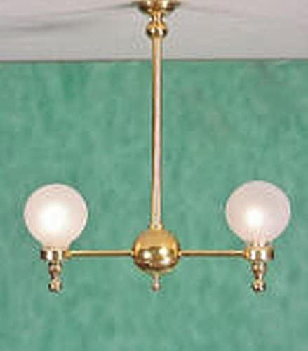 B00122QL4E Clare Bell Brass Dollhouse Miniature 2 Arm Electric Globe Chandelier (LED) 41K9X2UoyKL.