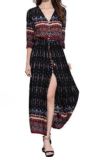 CHERRY CAT Women's Summer Black Floral Maxi Dress Long Sleeve Dresses Sundresses(US 6)