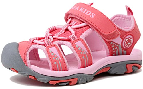 PPXID Boy's Girl's Summer Breathable Close Toe Strap Sandals (Toddler/ Little Kid/ Big Kid)-Pink 9 US - Kids Close