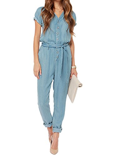 Choies Womens Waist Denim Jumpsuit
