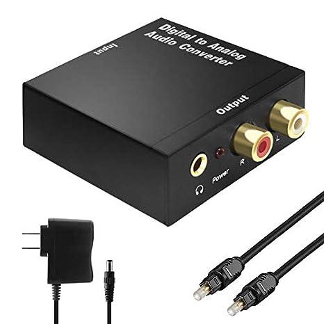 KUYiA Convertidor de audio digital a analógico DAC, digital SPDIF óptico/ coaxial a analógico de 3,5 mm RCA ...
