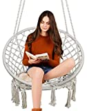 Hammock Chair Macrame Swing, 330 Pound Capacity, Hanging Cotton rope Chair for Indoor, Outdoor, Home, Patio, Deck, Yard, Garden