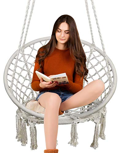 Hammock Chair Macrame Swing, 330 Pound Capacity, Hanging Cotton rope Chair for Indoor, Outdoor, Home, Patio, Deck, Yard, Garden by TOPWAY