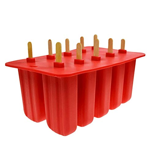 Silicone Ice Cream Tubs Eco-friendly Popsicle Mold Household Child For Kitchen Gadgets Dining Bar Accessories Supplies - Ice Cream Sticks - 10 Holes Red - Box Moulding Injuries Square Scoop