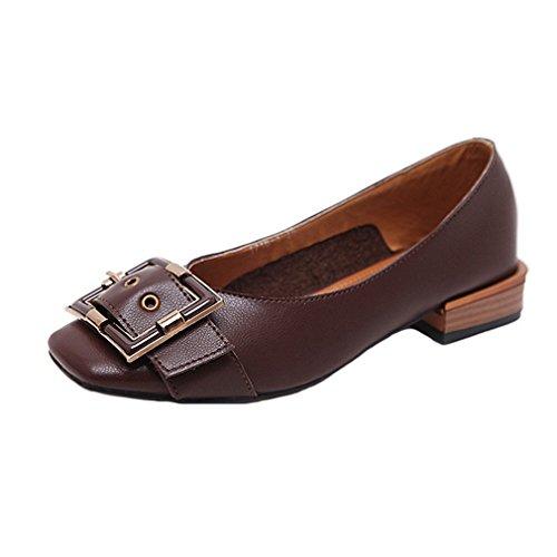 Giy Damesschoenen Klassieke Oxford Loafers Pumps Slip-on Gesp Vierkante Neus Hiel Hiel Jurk Penny Loafer Pump Donkerbruin