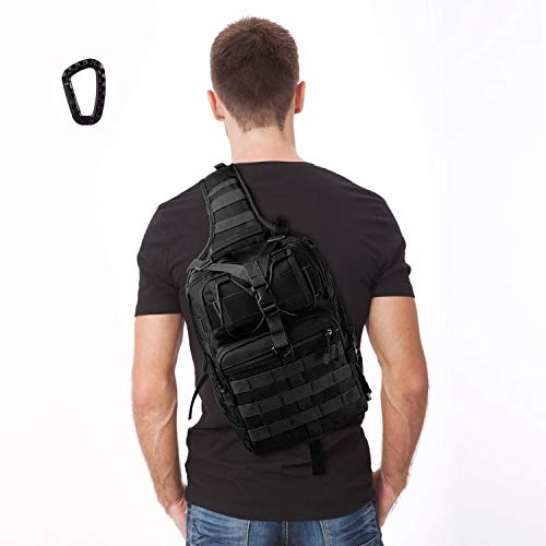 FUNANASUN Tactical Sling Backpack Bag Military Molle Assault Pack Rucksack Daypack for Outdoors Camping Hiking Hunting (Black 2) (Best Tactical Sling Backpack)