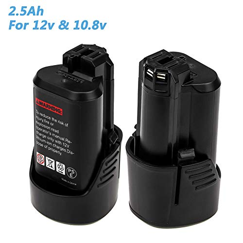 2.5Ah BAT411 Replacement for Bosch 10.8V/12V Battery Lithium BAT411A BAT420 BAT412 BAT413 PS30 Cordless Power Tool 2 Pack ()