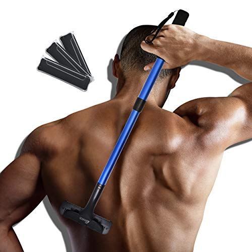 EASACE Back Groomer Back Hair Removal for Men, Back Shaver with Long Handle 21.5 Inch Adjustable, Curved DIY Body Groomer Pain-Free Shaver with 3 Durable Refill Blade (Blue)
