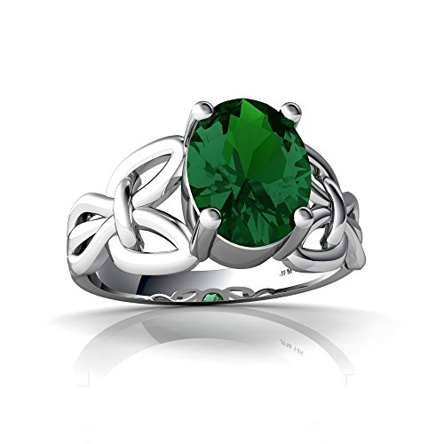 14kt White Gold Lab Emerald 9x7mm Oval Celtic Knot Ring - Size 6 ()