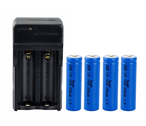 Aweek® 4Pcs 14500 2000mAh 3.7V Li-ion Lithium Rechargeable Battery AA Batteries For Cree Led Flashlight + 14500 Charger (4 Pcs Battery with Charger)