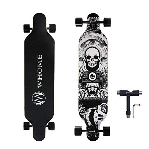 WHOME PRO Longboard Complete for Adults and Beginners - 41 Inch Longboard Hybrid Freestyle Carving Cruising 8 Layer Alpine Hard Rock Maple Top Mounted ABEC-9 Precision Bearings Includes T-Tools
