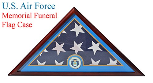 Flag Display Case Stand for American Air Force USAF Veteran Burial Flag 5 X 9- Mahogany Finish