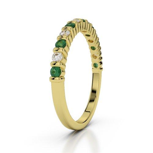 Or jaune 18carats 0,33CT G-H/VS Certifié Coupe ronde Émeraude et diamants Agdr-1095
