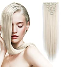 "OneDor 24"" Straight Full Head Clip in Synthetic Hair Extensions 7pcs 140g (60#-Platinum Blonde)"