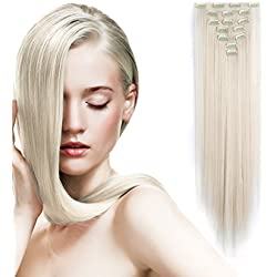 """Onedor 24"""" Straight Synthetic Clip in Hair Extensions. 7 individual pieces for multiple styles.140g (60#-Platinum Blonde)"""