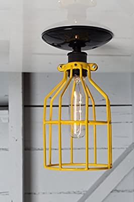 Cage Light - Yellow Cage - Ceiling Mount - Black