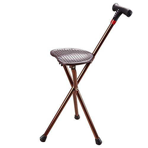 Walking Stick Three Legged Seat Stick With Radio LED Charging Money Aluminium Healthcare Folding Seat Cane Disability Medical Aid 83Cm by MYT