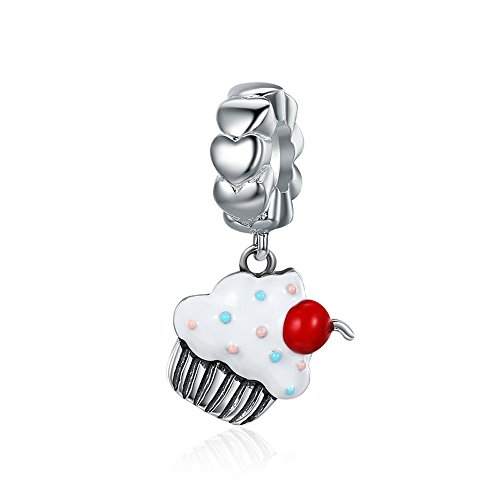 (Everbling Sweet Cherry Cream Cupcake 925 Sterling Silver Bead For European Charm Bracelet)