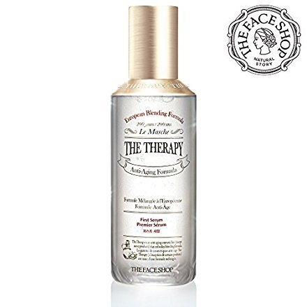THEFACESHOP Anti Aging Face Toner, [The Therapy First Serum Essense] Natural Botanical Ingredients / Anti Wrinkle Care Hydrating Facial Serum with Green Tea Cotton Pads (30 pcs) 130 mL/4.3 (Anti Aging Skin Therapy)