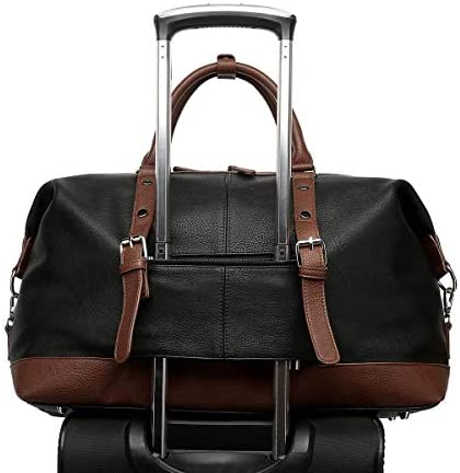 Travel Bag with PU Leather is not Easy to Tear and Break, Suitable for Business Trip, Tourism, Camping and Outdoor Activities (Black-Pu)