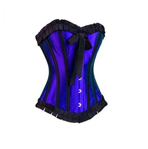 容赦ない香りアリーナRoyal Blue Satin Retro Goth Burlesque Bustier Waist Cincher Overbust Corset Top