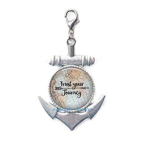 Journey Pull - KeepsakeJewelry Fashion,Trust Your Journey Anchor Zipper Pull,Inspirational Jewelry,Inspirational Lobster Clasp,Motivational Quote Jewelry,Encouragement quote-ZE144