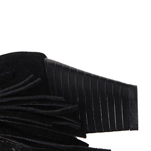 AllhqFashion Damen Reißverschluss Spitz Zehe Mittler Absatz Stiefel mit Rivet Set Schwarz