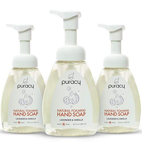 Puracy Natural Foaming Hand Soap, Sulfate-Free Hand Wash, Lavender & Vanilla, 8.5 Ounce (3-Pack)