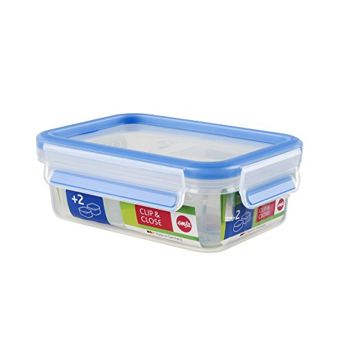 Emsa Clip and Close Storage Rectangle Container with 2 Inserts, 18.5-Ounce, Blue