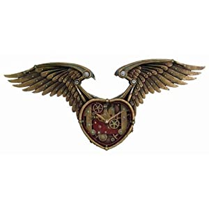 26.5 Inch Steampunk Winged Heart Decorative Wall Clock, Multicolor