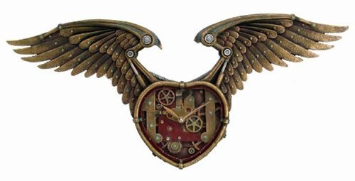 26.5 Inch Steampunk Winged Heart Decorative Wall Clock, Multicolor 3