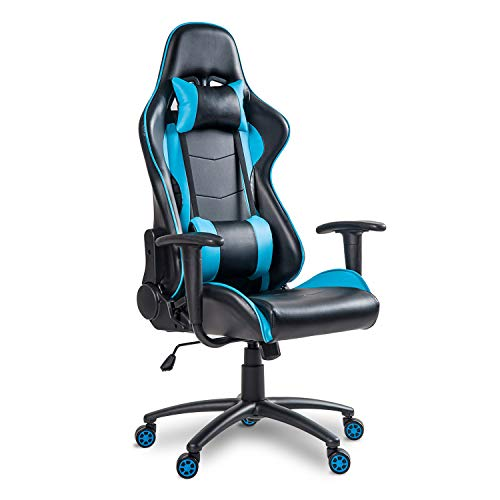MIERES Video Gaming Chair Racing Office-PU Leather High Back Ergonomic 170 Degree Adjustable Swivel Executive Computer Desk Task Large Size with Footrest,Headrest and Lumbar Support, ((Black/Blue)